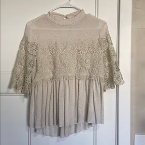 American Eagle Cream Lace Detail Top